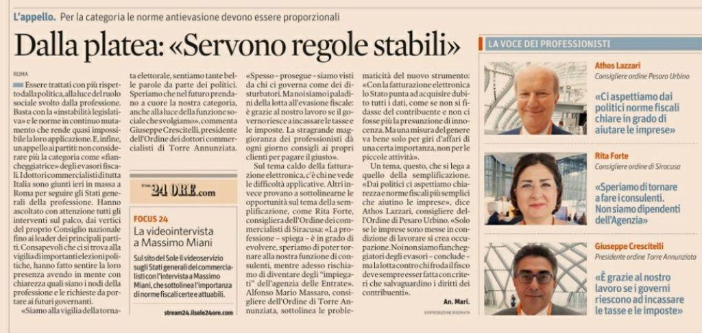 Intervento del Presidente Dr. Giuseppe Crescitelli sul Sole24ore del 14 Febbraio 2018